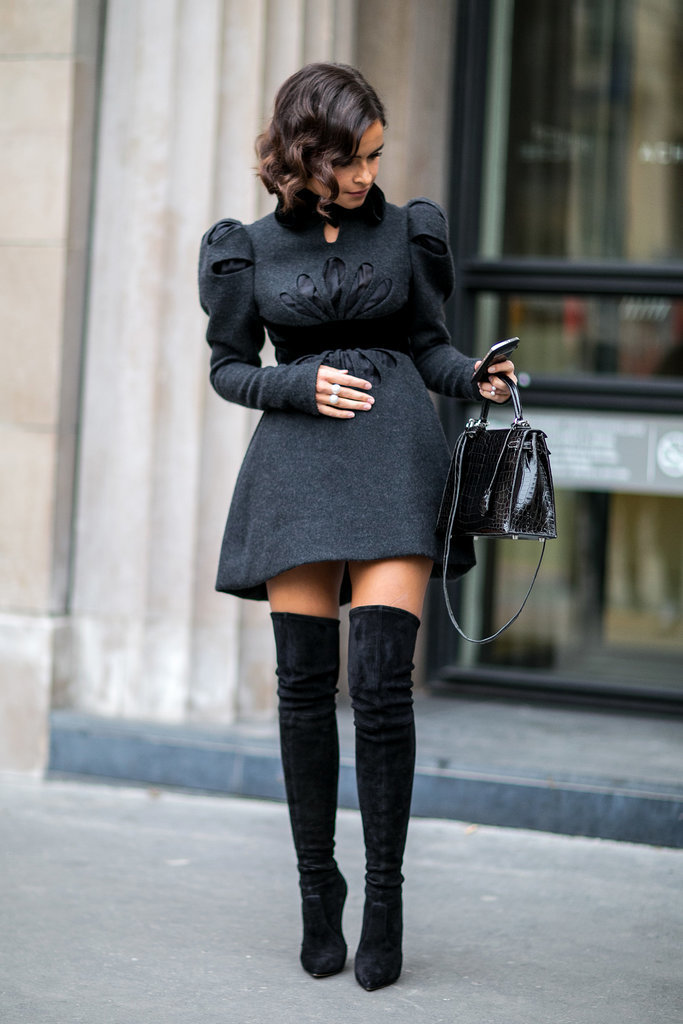 Miroslava-Duma-knows-trick-making-sweet-dress-little-sexier-over--knee-boots